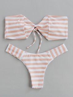 Block Striped Bandeau Bikini Set