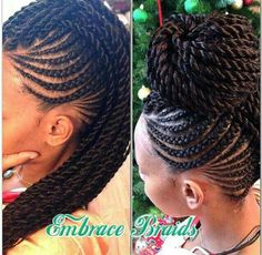 Braid & two strand twist updo