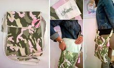 Borsa con tracolla regolabile, Postina in cotone fantasia militare camouflage rosa personalizzata con nome