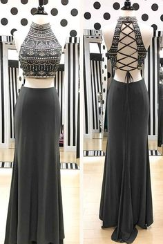 Unique chiffon two pieces beaded sequins long evening dresses