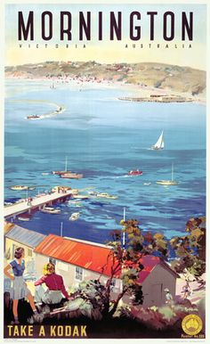 Vintage James Northfield Mornington Victoria Australia Travel 1940s Posters Prints