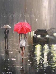 PETE RUMNEY FINE ART BUY ORIGINAL OIL ACRYLIC PAINTING RED UMBRELLA IN THE RAIN in Art, Artists (Self-Representing), Paintings, Oil | eBay