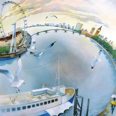 'Bird's-Eye View' (London) By Cyndi Speer. Blank Art Cards By Green Pebble.