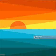 sunset illustration Stock Illustration : Sunset and sea Simple Canvas Paintings, Diy Canvas Art, Colorful Paintings, Geometric Painting, Geometric Art, Painting Inspiration, Art Inspo, Minimalist Painting, Grafik Design