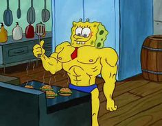 "When Spongebob transformed into a body builder. | 36 Times ""Spongebob"" Made Absolutely No Sense At All"