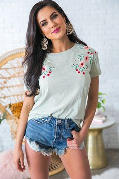 """Paradise Found Embroidered Shift Tee in Pear-$32  This burn-out tee has short cuffed sleeves, a relaxed shift silhouette & a floral embroidered bust that adds the perfect boho touch. Style this comfy cutie with your favorite denim for a """"casual cute"""" look that's perfect for all of your afternoon adventures!"""