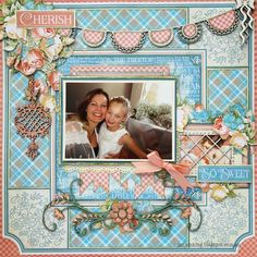 Graphic 45 Precious Memories patterned paper. Paper Hearts & Peonies: Your Creative Wings - Girly Layout Inspiration