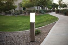 Product Roundup: 29 Outdoor Furnishings | Rincon bollard lamp in powdercoated stainless steel and white-frosted acrylic with LEDs by Forms+Surfaces. #interiordesign #design #interior #products #outdoorfurnishings #accessories