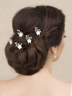 Ceramic Flower Bridal Hair Pin ~ Erica