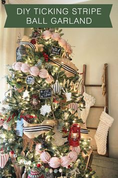 DIY Ticking Stripe Ball Garland - The Hamby Home Christmas Mantels, Rustic Christmas, Christmas Tree Decorations, Christmas Time, Christmas Crafts, Christmas Ideas, Holiday Ideas, Christmas Thoughts, Plaid Christmas