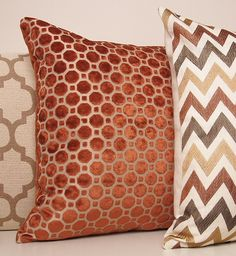 This beautiful modern pillow cover has a soft velvet geometric pattern in a lovely warm shade of copper. The style is timeless and versatile.  Also available in a beautiful shade of turquoise here: https://www.etsy.com/listing/150454852/turquoise-blue-velvet-geometric-pillow?ref=shop_home_active  (This listing is for one pillow cover shown by itself in image #2.)  *Front and Back: Copper Velvet Geometric *Listing is for One Pillow Cover, insert not included *Seams Double-Stitched for…