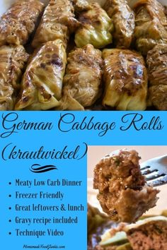 German Cabbage Rolls krautwickel A savory meaty satisfying low carb dinner the whole family will enjoy Vegetable Recipes, Meat Recipes, Low Carb Recipes, Dinner Recipes, Cooking Recipes, German Recipes Dinner, German Food Recipes, German Desserts, Uk Recipes