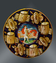 Flat plate, painted by Maestro Giorgio, Gubbio or Urbino, dated 1537, tin-glazed earthenware  450px-506px-2010EA0832.jpg
