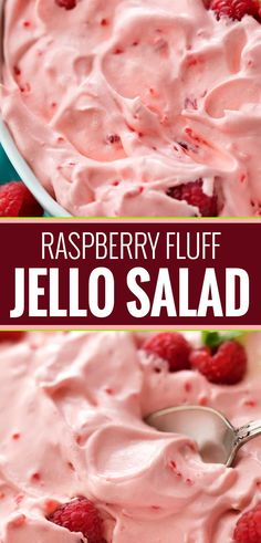 This make-ahead raspberry fluff jello salad dessert is made by using just a few . This make-ahead raspberry fluff jello salad dessert is made by using just a few ingredients and is perfect for potlucks and summer bbq& Fluff Desserts, Jello Desserts, Dessert Salads, Fruit Salad Recipes, Delicious Desserts, Yummy Food, Birthday Desserts, Recipe For Jello Salad, Fruit Fluff Recipe