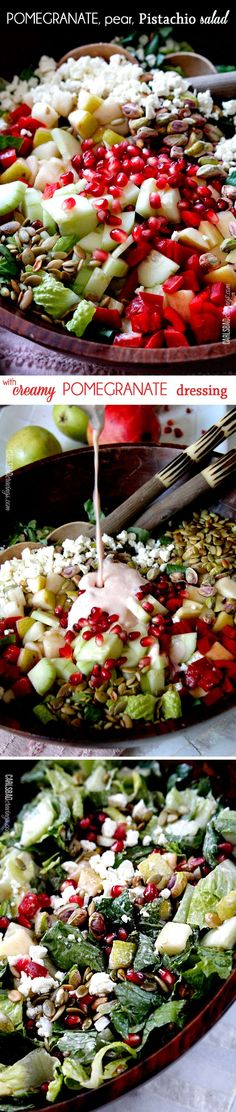 Perfect for THANKSGIVING! This salad is SO addictingly delicious! Sweet pomegranate arils, pears, apples, crunchy cucumbers and peppers complimented by salty roasted pistachios and pepitas all doused in Creamy Pomegranate Dressing. #saladrecipes #healthy