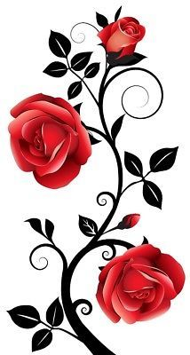 Large Flower Roses Vines Vinyl Wall Art Stickers office Decor Graphics Wall-to-wall mirrors When