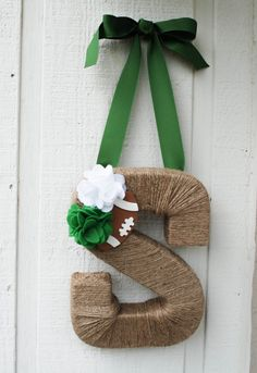 Rustic Twine Michigan State Wreath on Etsy, $36.99 slash wrap twine around the letters I got from hobby lobby!