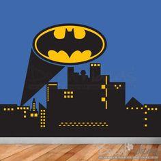 Superhero City Skyline Wall Decal - Batman Emblem - super hero wall mural - Batman logo - vinyl wall murals - kids wall murals