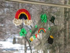 Make some St. Patrick's Day Window Clings - rainbows, shamrocks, leprechaun hats, and a pot of gold! St Patricks Day Crafts For Kids, St Patrick's Day Crafts, Holiday Crafts, Holiday Fun, Crafts To Make, Kid Crafts, March Crafts, Easy Crafts, Craft Activities For Kids