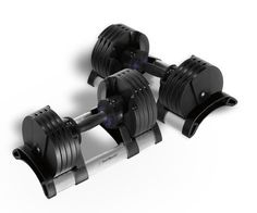 StairMaster Pair of TwistLock Adjustable Dumbbells (100-Pounds). Fast: You never have to take your hands off the handles to change the weight. Just dock, twist and go!. Simple: The highly visible weight selection windows clearly show the selected weight. Compact: Patented design delivers the most compact adjustable dumbbell available. Safe: Weight changes can only be made when the handle is in the cradle. Design: Contoured, soft grip handles and Aluminum cradle deliver unmatched quality.