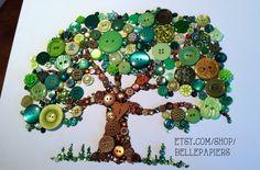 11x14 Button Tree of Life Button Art with Swarovski Rhinestones Button Oak Tree on Etsy, $154.00