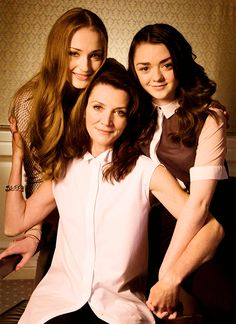 Michelle Fairley, Sophie Turner, and Maisie Williams