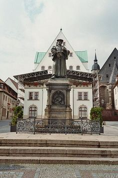 Martin Luther Memorial on the marketplace by Rudolf Siemering in Eisleben, Germany