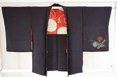 Kimono Dress Japan Vintage haori coat Geisha costume used silk 1610T1S16