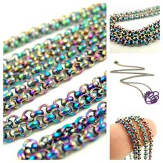 Rainbow Anodized Stainless Steel Rollo Chains - 2mm - 23 inch. $15.00, via Etsy.