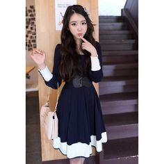 Sweet Scoop Neck Color Block With Waistband Long Sleeves Cotton Blend Deep Blue Dress For Women.and the dress is pretty too! Cheap Dresses, Day Dresses, Casual Dresses, Fashion Dresses, Sweater Dresses, Dresses 2013, Long Sleeve Cotton Dress, Cotton Dresses, Sleeve Dresses