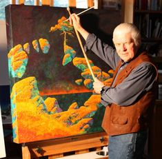 Roger Dean, in front of one of his paintings. [not sure what Yes release this was eventually a cover for]