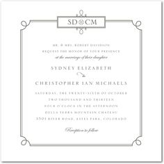 Simple Loop Frame with Initials - Thermography Wedding Invitations with Gray, Gold, Blue or Green Frame