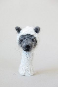 lazy animals needle-felted finger puppets