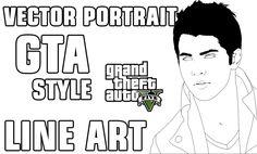 Tutorial Vector Art Portrait - Line art   GTA5 Style Part1 (Using Ai cc2...