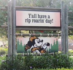 Cute sign from the Fort Wilderness Resort & Campground at Disney World. #FortWilderness #MickeyMouse