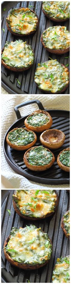 Portobello mushrooms stuffed with creamy garlic spinach, then topped with grated parmesan - the perfect summer lunch! From SliceOfKitchenLife.com