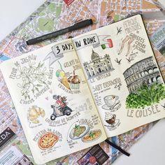 "268 Likes, 9 Comments - Constance (@constancechel) on Instagram: "" 3 jours à Rome > Doodles . . . . . . . . . . . . #bulletjournal #bulletjournaljunkies…"""