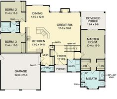 First Floor Plan of Ranch House Plan 54066