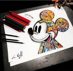 Mickey Mandala colorful Mickey style of the time ! - # of drawing . - Mickey Mandala colorful Mickey style of the time ! Doodle Drawings, Cartoon Drawings, Cartoon Art, Doodle Art, Art Disney, Disney Kunst, Disney Crafts, Cute Disney Drawings, Cute Drawings