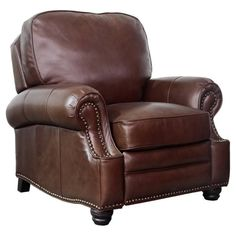 Barcalounger Longhorn Recliner in Sanded Dark Bomber / Top Grain LeatherIf you desire big comfort the Longhorn recliner is perfect. The solid pillow back and rolled arms deliver a classic look with decorative nail head trim and relaxing co Saddle Leather, Leather Recliner, Leather Chairs, Stylish Recliners, Barcalounger, Leggett And Platt, Seat Foam, Hardwood Plywood, Mortise And Tenon