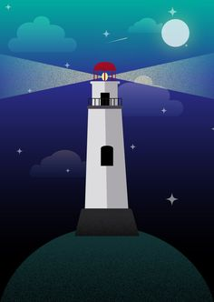 Pretty minimalisitc lighthouse from this new etsy shop. Perfect unisex gift!  Night's Dream Lighthouse Poster by FromUpNorthCreatives on Etsy