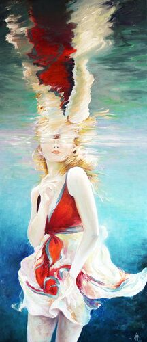 ✅ Buy the Artwork 'Reflection' by Vali Irina Ciobanu : Painting Oil on Canvas - ➽ Free Delivery ➽ Secure Payment ➽ Free Returns Girl Under Water, Art For Sale, Underwater, Vivid Colors, Fine Art America, Oil On Canvas, Reflection, Original Paintings, Instagram Images
