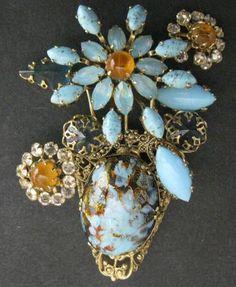 Schreiner Rhinestone Art Glass Floral Brooch