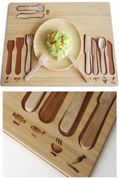 Eco Decor in Japan came out with this Table Manner Kit for kids. It teaches them with icons as to which utensil is used for what. I think the design is quite lovely.