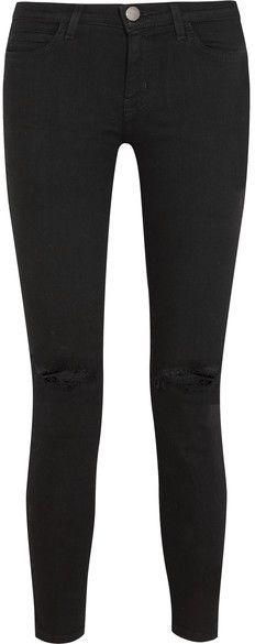 Current/Elliott - The Stiletto Mid-rise Distressed Skinny Jeans - Black