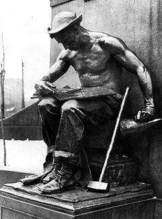 """Labor, or The Reading Blacksmith  -  The statue of """"Labor,"""" also known as """"The Reading Blacksmith,"""" is one element in a monument memorializing Pittsburgh industrialist Col. James Anderson (1785-1861). It is the work of Daniel Chester French (1850-1931), sculptor of the statue of Abraham Lincoln enshrined in the Lincoln Memorial, Washington, D.C. The monument was a gift of Andrew Carnegie to the people of the city of Allegheny in honor of a man whom Carnegie viewed as his benefactor."""
