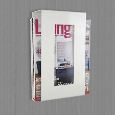 Contemporary Wall Mounted Magazine Newspaper Storage Rack In Ivory Magazine Rack Wall White Magazine Rack Magazine Storage