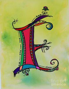 e Monogram Painting - e Monogram Fine Art Print