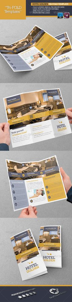 Hotel Golden Tri-Fold Template #GraphicRiver Hotel Golden Tri-Fold Template Fully layered INDD Fully layered PSD 300 Dpi, CMYK IDML format open Indesign CS4 or later Completely editable, print ready Text/Font or Color can be altered as needed All Image are in vector format, so can customise easily Photos are not included in the file Fonts File: Lato Font: .fontsquirrel /fonts/lato Bree-serif: .fontsquirrel /fonts/bree-serif Help.txt file Created: 25June13 GraphicsFilesIncluded: PhotoshopPSD…