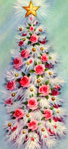 I want a white Christmas tree now so that I can festoon it with pink roses like this vintage beauty. #vintage #Christmas #cards